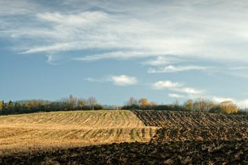 Autumn half-plowed field