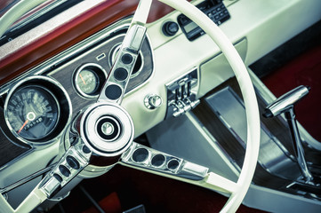 retro toned American muscle car interior