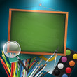 Modern school background with empty blackboard