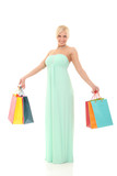 beautiful smiling woman with shopping bags