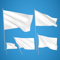 White vector flags on blue background