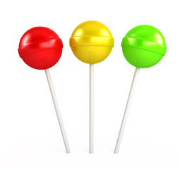 Red, yellow and green lollipop