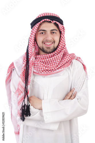 Young arab isolated on the white background