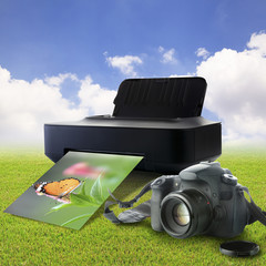 Camera and printer with picture of a butterfly