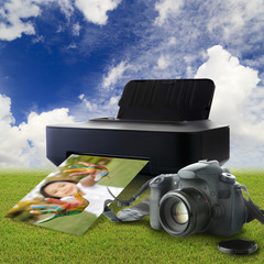 Camera and printer with picture