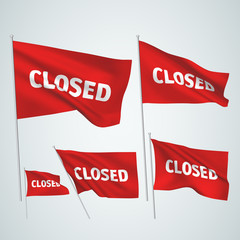 Closed - red vector flags