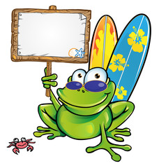 happy summer frog with signboard