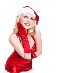 attraktive blonde Weihnachtsfrau