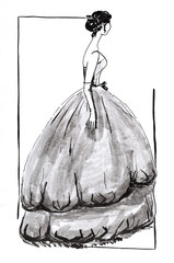 evening ball gown with a wide skirt in 50th years