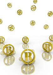 Символы зарегистрированной торговой марки падают на поверхность