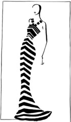 narrow striped evening gown in 90th years