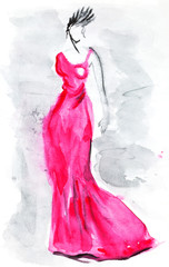 long pink evening gown of 30th years
