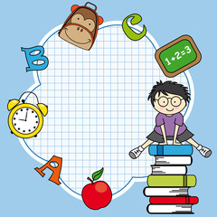Education and school icon set. Space for text.