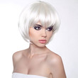 Fashion portrait with White Short Hair. Haircut. Hairstyle. Frin