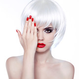 White Hair and Red Nails. Fashion Beauty Girl. Red lips. Manicur