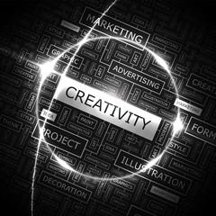 CREATIVITY. Word cloud concept illustration.