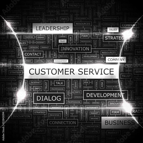 CUSTOMER SERVICE. Word cloud concept illustration.