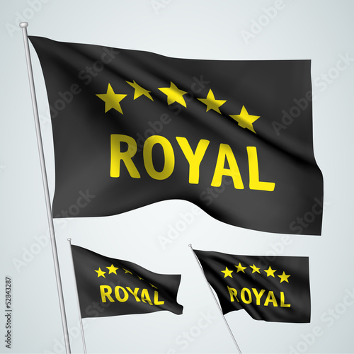 5 stars royal - black vector flags
