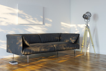 Minimalistic Room With Sofa And Spotlight (Perspective View)