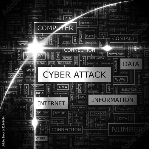 CYBER ATTACK. Word cloud concept illustration.