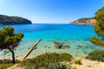 Beach pine trees sea bay mountains, Camp de Mar, Majorca