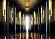 Modern perspective corridor illuminated