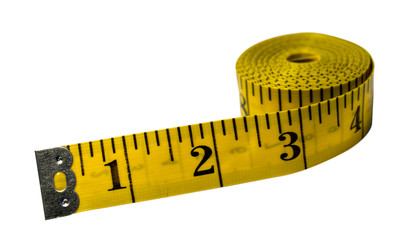 Yellow measuring tape on white