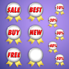 Set of white shiny badges with ribbons on sale