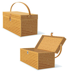 Picnic Hamper with Lid. Detailed Illustration