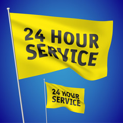 24 hour service - yellow vector flags