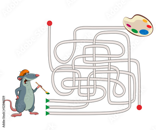 Maze. Illustration of an mouse artist with a palette