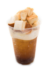 Coffee caramel cocktail with bread