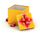 Open gold gift box