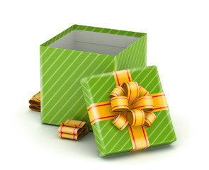 Open green gift box