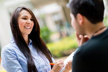 Woman making a survey