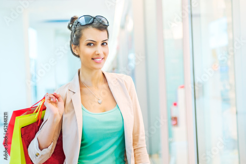 Shopping time, woman at mall
