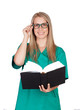 Atractive medical with glasses reading a book