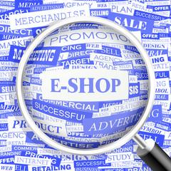 E-SHOP. Word cloud concept illustration.