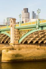 Underneath Southwark Bridge in London