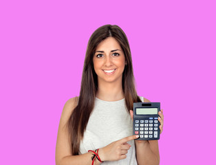 Beautiful girl with a calculator