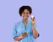 African medical girl with a stethoscope