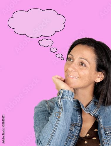 Pensive brunette woman