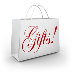 Gifts Word Shopping Bag Present Giving Holiday Store