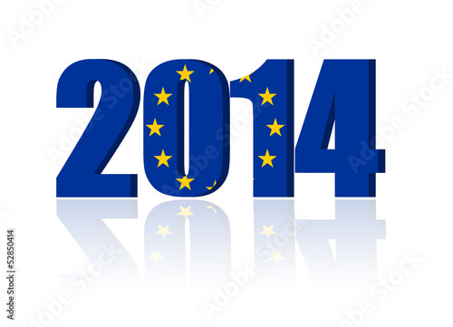 New Year 2014 with Flag of European Union - a 3d image
