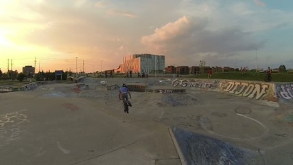 Extreme Sport Bike Rider Doing Tailwhip