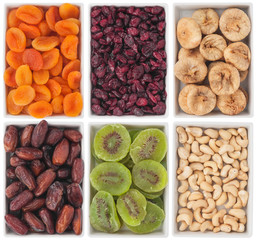 Nuts and dried fruits in ceramic plate