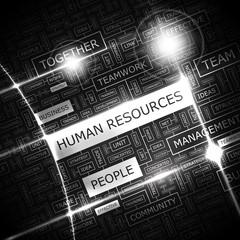 HUMAN RESOURCES. Word cloud concept illustration.