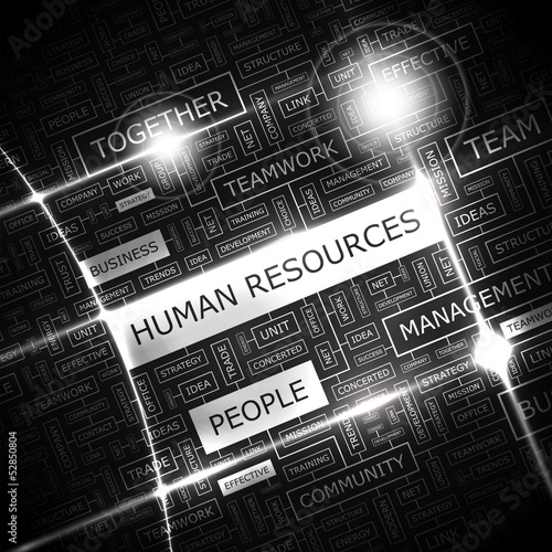 HUMAN RESOURCES. Word cloud concept illustration.