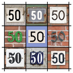 Collage of House Numbers Fifty
