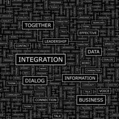 INTEGRATION. Word cloud concept illustration.